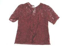 H&M T149 Size 2 Women's Purple V Neck Short Sleeve Lace Blouse Top