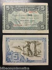BILBAO 5 PESETAS 1937 CAJA DE AHORROS VIZCAINA MBC Euskadi 1936 PICK#S561G Spain
