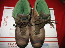 """WOLVERINE, MEN'S 8"""" LEATHER & NYLON BOOTS, SIZE: 12, COLOR: BROWN & GREEN, USED"""
