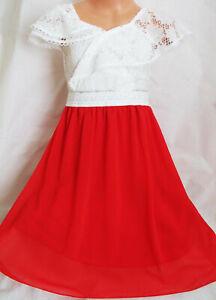 GIRLS LATIN FLAMENCO GYPSY STYLE WHITE LACE RED CHIFFON CONTRAST DRESS age 3-4