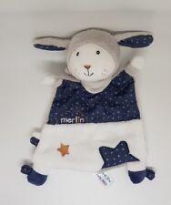 Doudou MERLIN Plat mouton agneau SAUTHON blanc bleu gris étoile NEUF