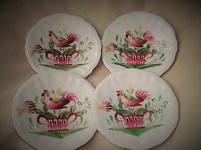 4 X VINTAGE HANDPAINTED ST CLEMENT FRANCE FAIENCE SAUCERS ROOSTER ON BASKET BOLD