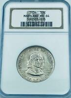 1934 Maryland Commemorative Silver Half Dollar - NGC Mint State 64- MS-64