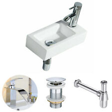 Modern Square Ceramic Small Compact Cloakroom Basin Wall Hung Bathroom Sink Sets