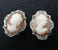 vintage 835 SILVER marcasite carved shel cameo clip earrings 1950s -C363