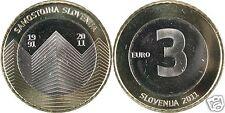 manueduc  3 EUROS   ESLOVENIA 2011  20 AÑOS INDEPENDENCIA  SAMOSTOJNA NUEVA