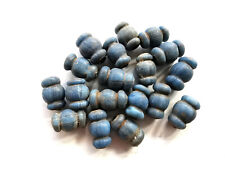 Rare Lot Antique Old Tibetan Buddhism Blue Agate Hand Carved Beads