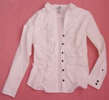 H&M White Ruched Blouse, Long Sleeves, UK 10-12