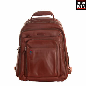 RRP €495 PIQUADRO Leather Backpack Large Laptop Pocket Padded Back Zip Closure