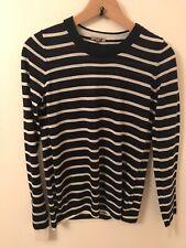 Jigsaw Navy Breton Stripe Wool Jumper Top Size S