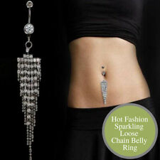 Silver Plated CZ Crystal Tassel Body Dangle Navel Belly Button Ring Bar Piercing