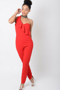 Womens Jumpsuit Ladies Red All in One Skinny Trousers One shoulder Playsuit