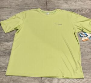 Columbia PFG neon yellow/green Fishing omni freeze zero T-Shirt Men's XL NWT