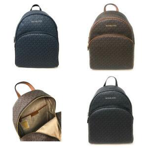 Michael Kors Large Abbey Backpack PVC Leather Trim Signature $468