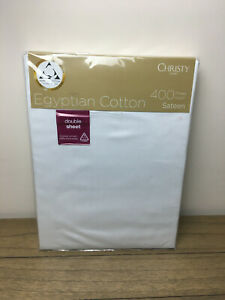 BNWT Christy Double Fitted Sheet 400 Thread Count 100% Egyptian Cotton rrp £75