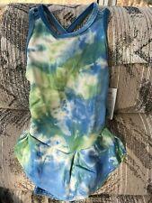 GK NWT! blue green nylon spandex skating dress w/ blue velvet trim girl small