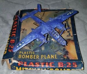 Vintage Renwal Blue WWII Mitchell B 25 Bomber Military Fighter Airplane w/Box