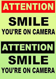 GLOW in the DARK  ATTENTION SIGN  SMILE YOU'RE ON CAMERA