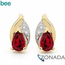 PEAR Ruby Diamond 9ct 9k Solid Yellow Gold Stud Earrings