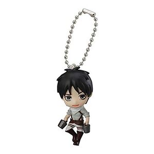 Attack on Titan Mascot Swing PVC Keychain SD Figure~ Eren Yeager Cleaning @90013