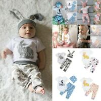 infant Baby Girl Boy Cartoon First Easter 3D Bunny Romper Hat Pants Outfits Set