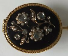 Antique 18ct Gold Rose Cut Diamond Onyx  Seed Pearl Brooch
