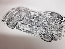 FORD MK IV GT40 EXPLODED CUTAWAY DRAWING POSTER NOS MAN CAVE MUST!