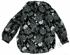 NWT Women's Maternity Clothes Black Floral Print Blouse Top Long Sleeve Size M