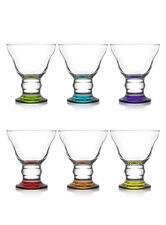 Brand New Set of 6 Coloured Glasses Modern Dessert Sundae Ice Cream Cup Bowls