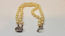 zweireihiges Bracciale di perle 925 argento 20,5 cm lunghezza Akoya perle