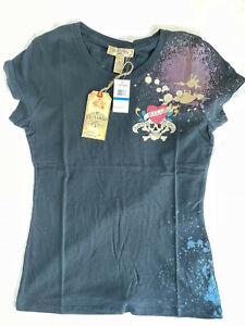 New Ed Hardy Women's short sleeve Love Kills Slowly BLACK T-shirt Size: Large