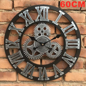 60CM EXTRA LARGE ROMAN NUMERALS SKELETON WALL CLOCK BIG GIANT OPEN FACE 3D ROUND