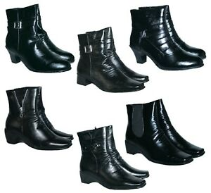 LADIES CUSHION WALK CASUAL ANKLE BOOTS IN 6 STYLES WITH IN SIDE ZIP SIZES 3-8.