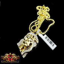 10k Real Gold With Real Diamond Micro Mini Jesus Face Piece Pendant Charm 1.25IN