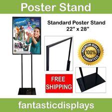 "Poster Stand Sign Holder Bulletin Display 22"" x 28"" Sleek BLACK finish Retail"