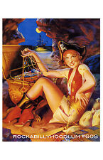 Pin Up Girl Poster 11x17 pirate queen treasure chest flapper art deco ship
