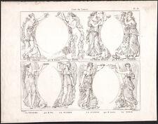 1830 Gravure la chasse la pêche la poésie épique  la justice Mythologie
