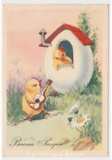 carte postale Tél. fg354 voeux Pâques maison œuf poussins amoureux serenata