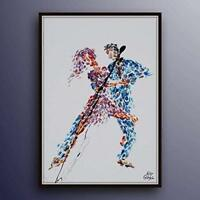 "Dancing Couple 40"" man and woman, figures, pop art, handmade by Koby Feldmos"