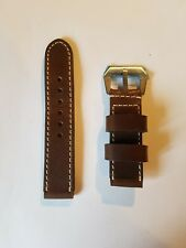 Brown Leather / White Stitching Watch Strap 24mm Ideal for Panerai Thick Chunky