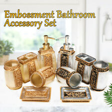 5x Bathroom Accessory Set Resin Tumbler Toothbrush Dispenser Soap Cup Holder A