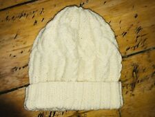 White Cream Knitted Woolly Beanie Winter Hat