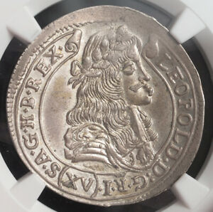 """1679, Hungary, Leopold I """"the Hogmouth"""". Silver 15 Krajczar Coin. NGC MS-63!"""