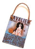 Retro Mini Metal King Cavalier Spaniel Dog Saying Sign Hang Decoration 6.5x9cm