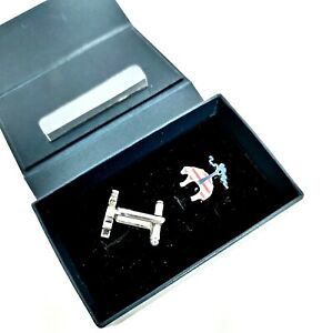 BROOKS BROTHERS Red White Blue & Silver Sheep Logo Tone Knot Cufflinks NWT BOX
