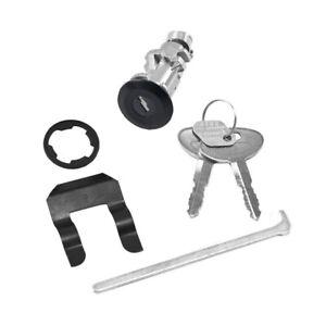 1979-1993 Ford Mustang Trunk Lock Set w/ Black Bezel. Retainer, Stem & Keys