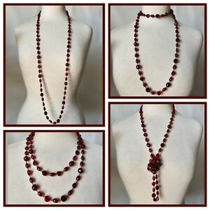 Vintage Red Coloured Glass Beads Long Necklace Deco Flapper Costume Jewellery