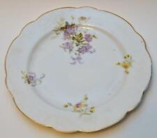"Antique AUSTRIA Porcelain Purple FLOWERS 8 1/2"" Salad Plate"