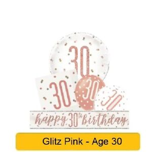 *NEW ROSE GOLD GLITZ* Age 30 - Happy 30th Birthday - Party Supplies Decorations