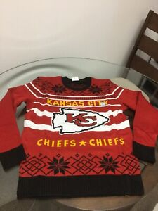 NWOT Kansas City Chiefs Red Black Junk Food Ugly Christmas Sweater Large